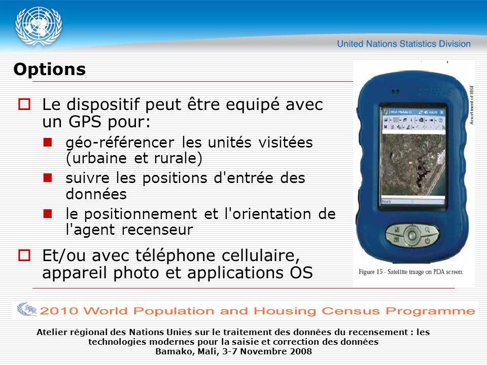 Options Le dispositif peut être equipé avec un GPS pour: