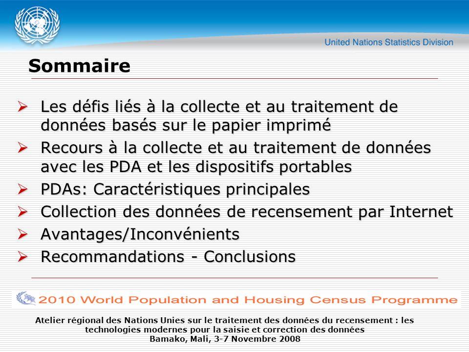 Sommaire Les défis liés à la collecte et au traitement de données basés sur le papier imprimé.