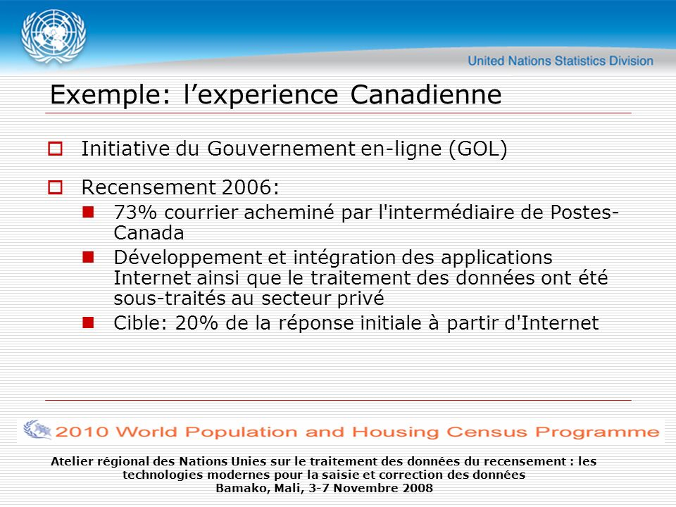 Exemple: l'experience Canadienne