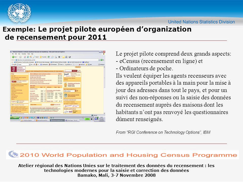 Exemple: Le projet pilote européen d'organization de recensement pour 2011