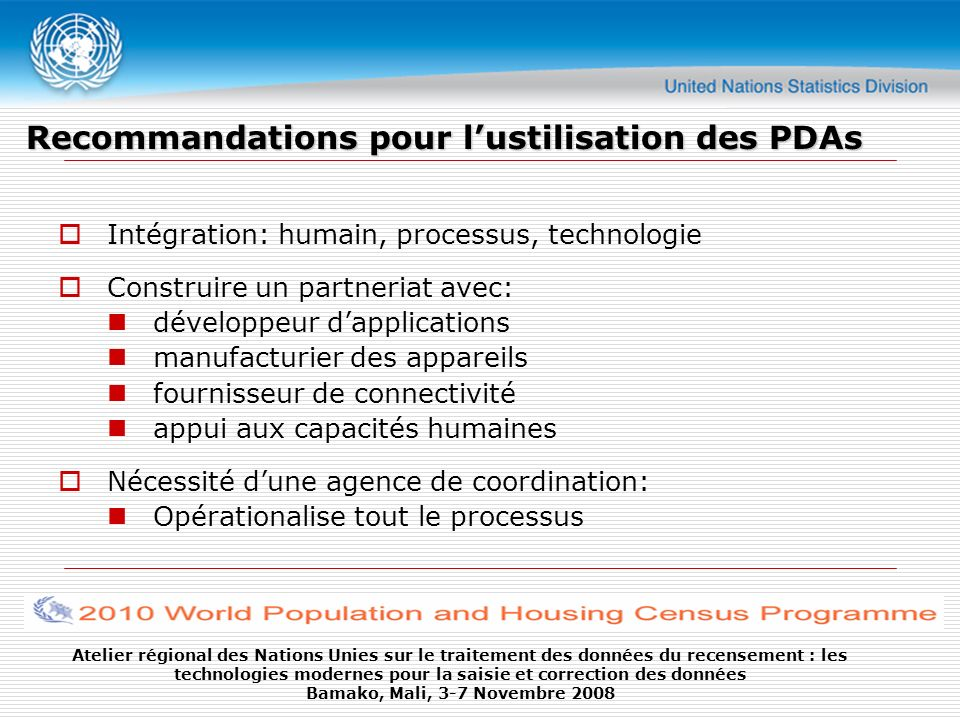 Recommandations pour l'ustilisation des PDAs