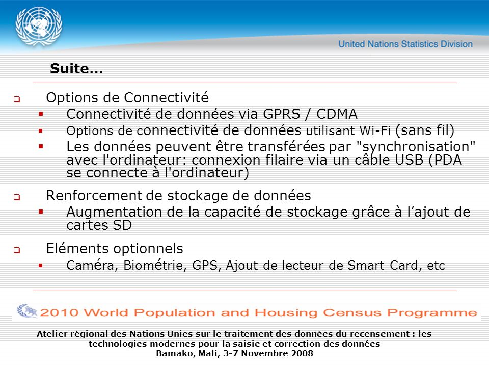 Options de Connectivité Connectivité de données via GPRS / CDMA