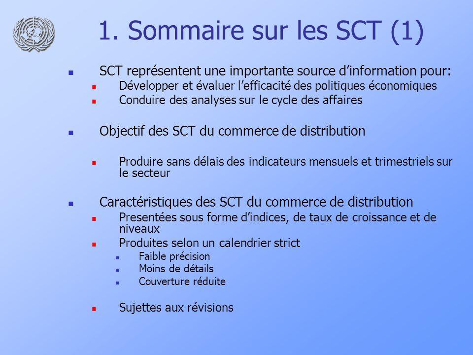 1. Sommaire sur les SCT (1)SCT représentent une importante source d'information pour: Développer et évaluer l'efficacité des politiques économiques.