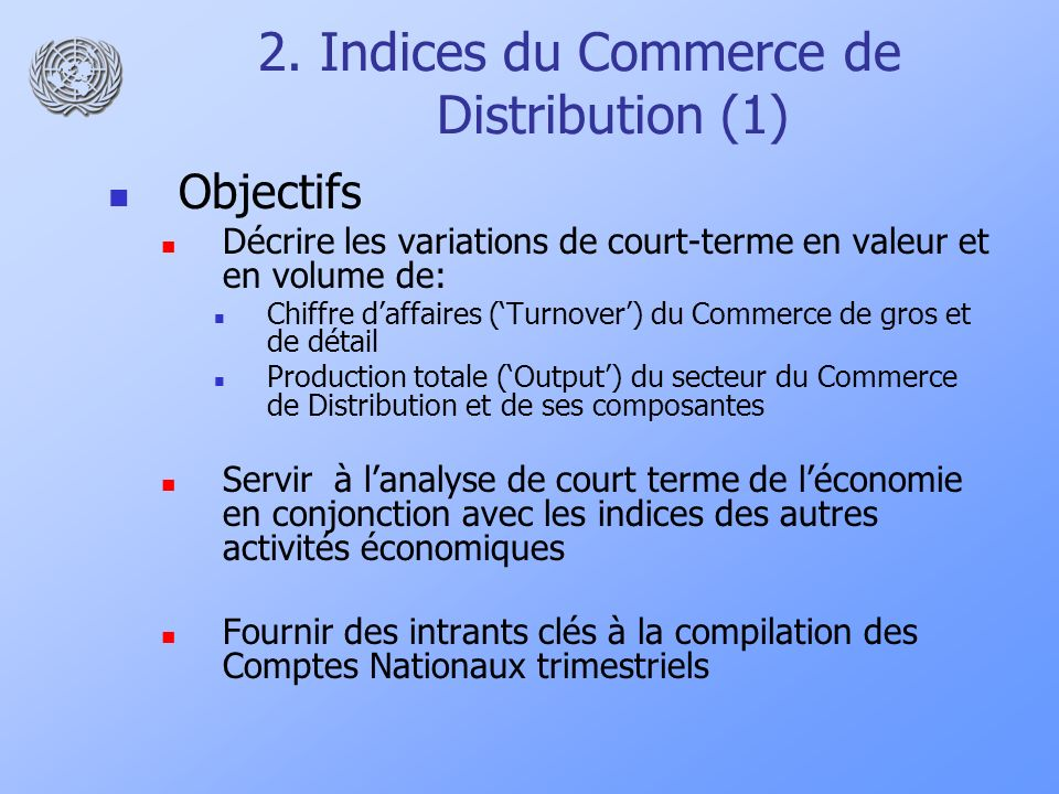 2. Indices du Commerce de Distribution (1)