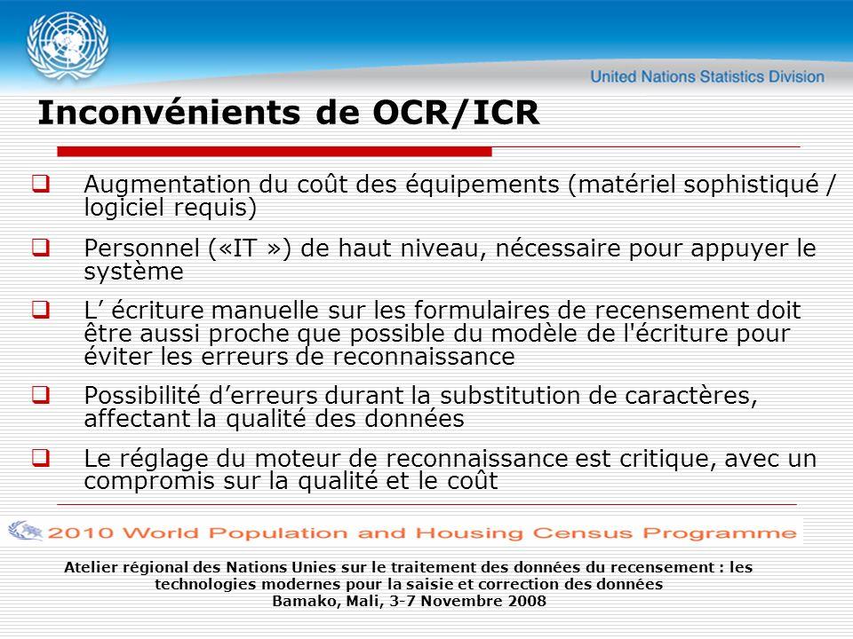 Inconvénients de OCR/ICR