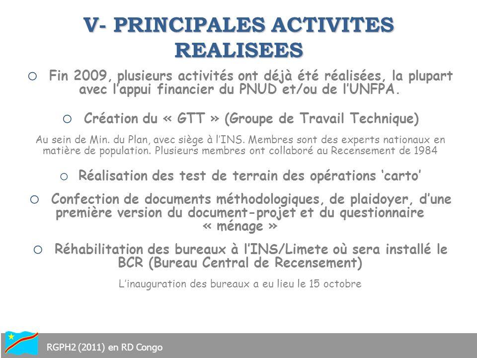 V- PRINCIPALES ACTIVITES REALISEES