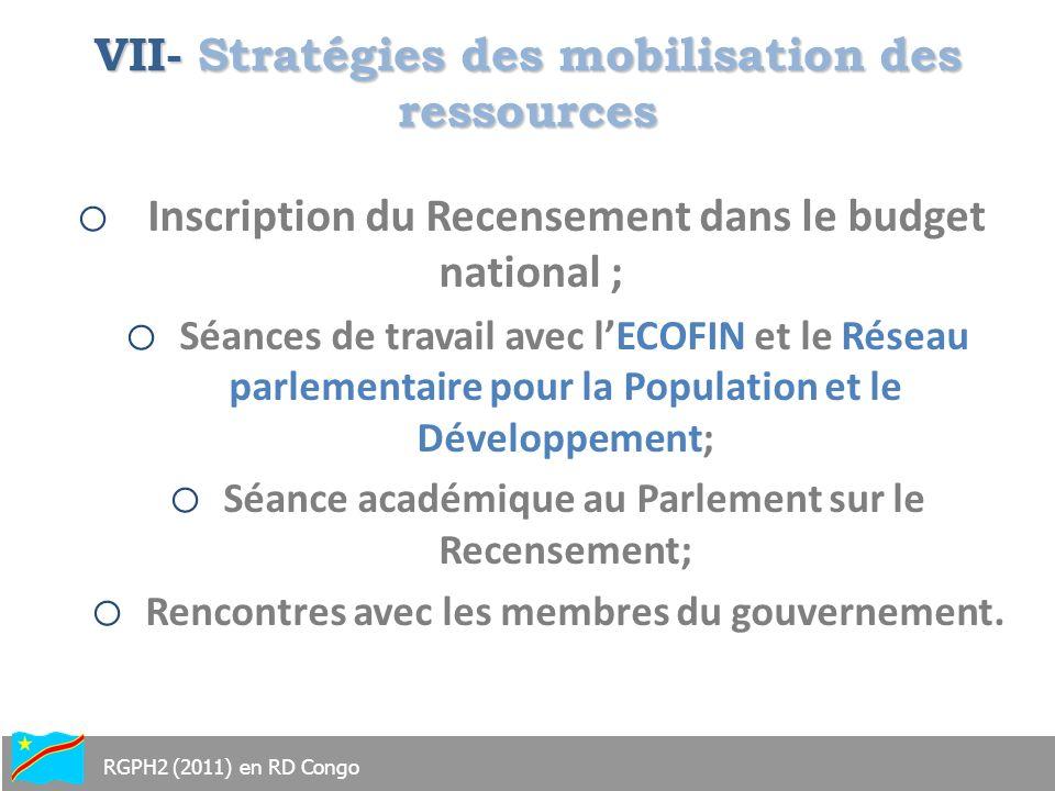 VII- Stratégies des mobilisation des ressources
