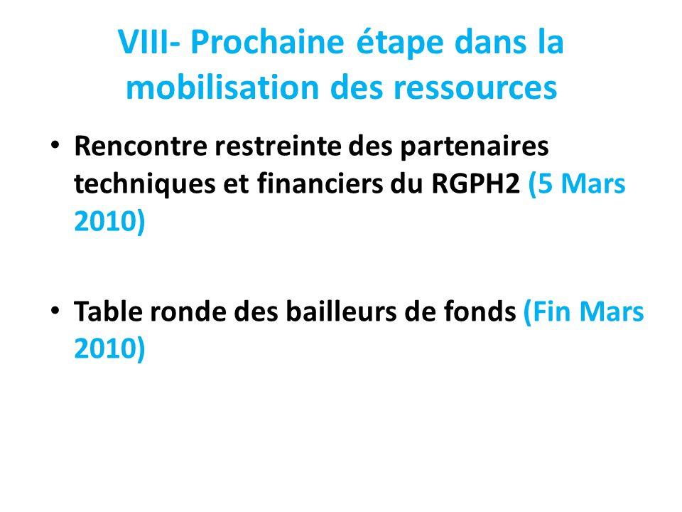 VIII- Prochaine étape dans la mobilisation des ressources