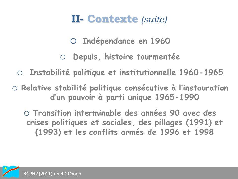 II- Contexte (suite) Indépendance en 1960 Depuis, histoire tourmentée