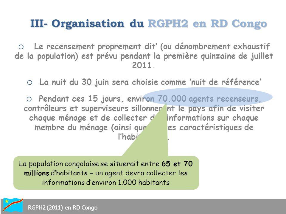 III- Organisation du RGPH2 en RD Congo
