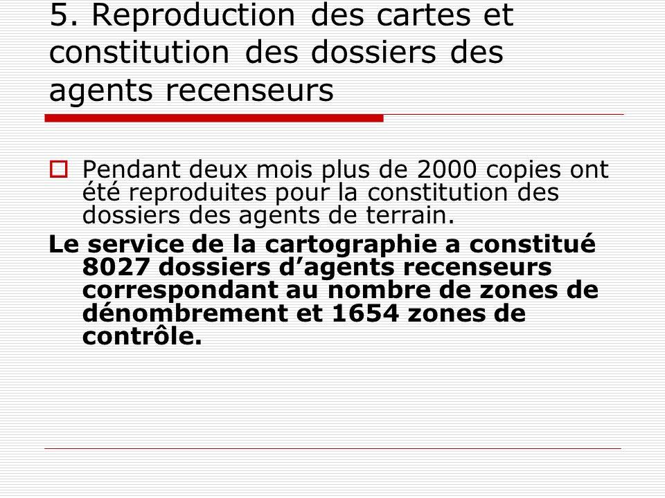 5. Reproduction des cartes et constitution des dossiers des agents recenseurs