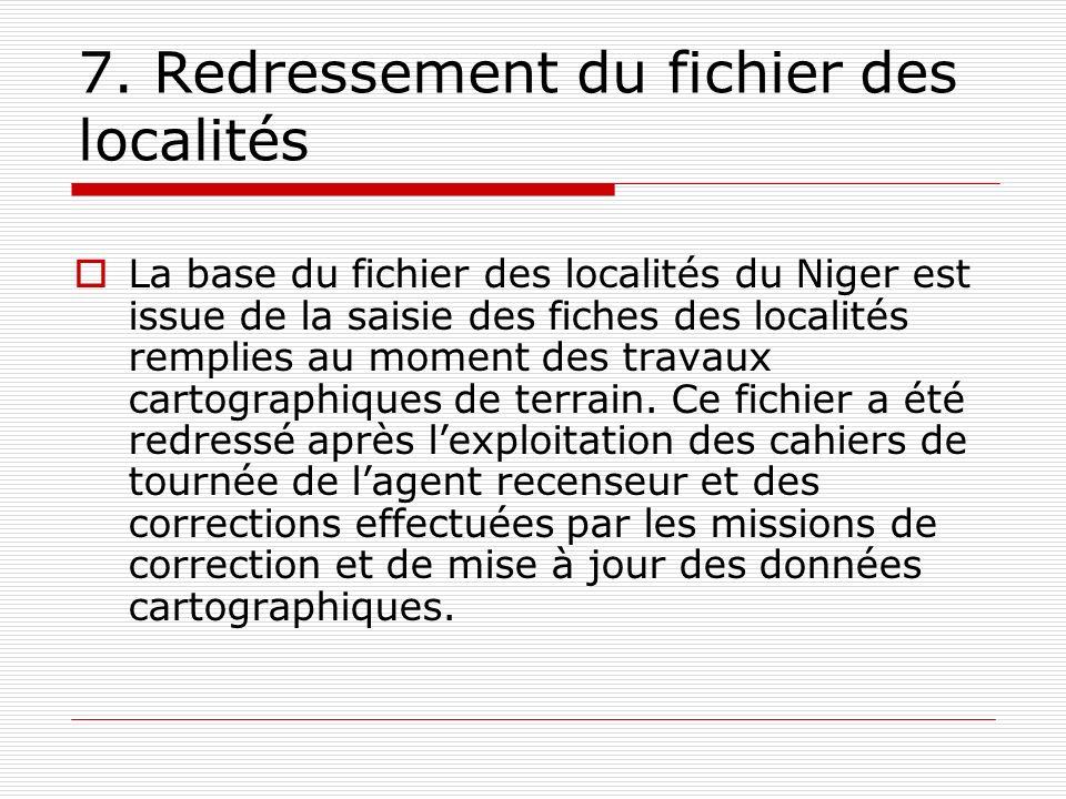 7. Redressement du fichier des localités