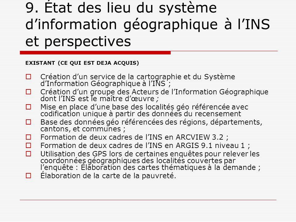 9. État des lieu du système d'information géographique à l'INS et perspectives