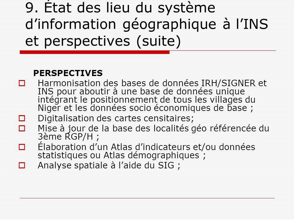 9. État des lieu du système d'information géographique à l'INS et perspectives (suite)