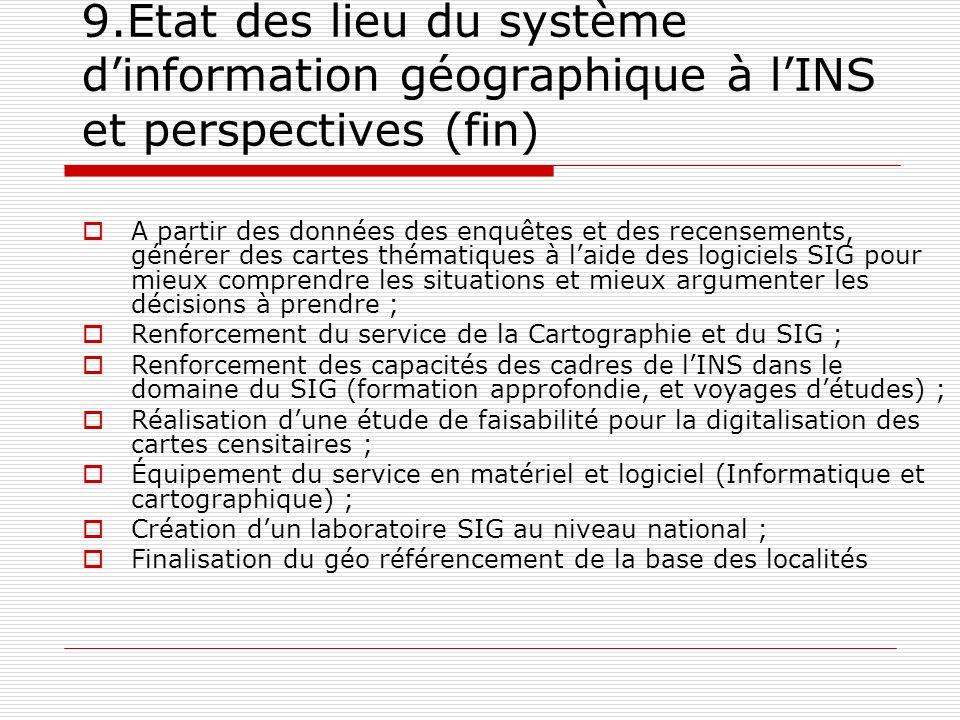 9.État des lieu du système d'information géographique à l'INS et perspectives (fin)
