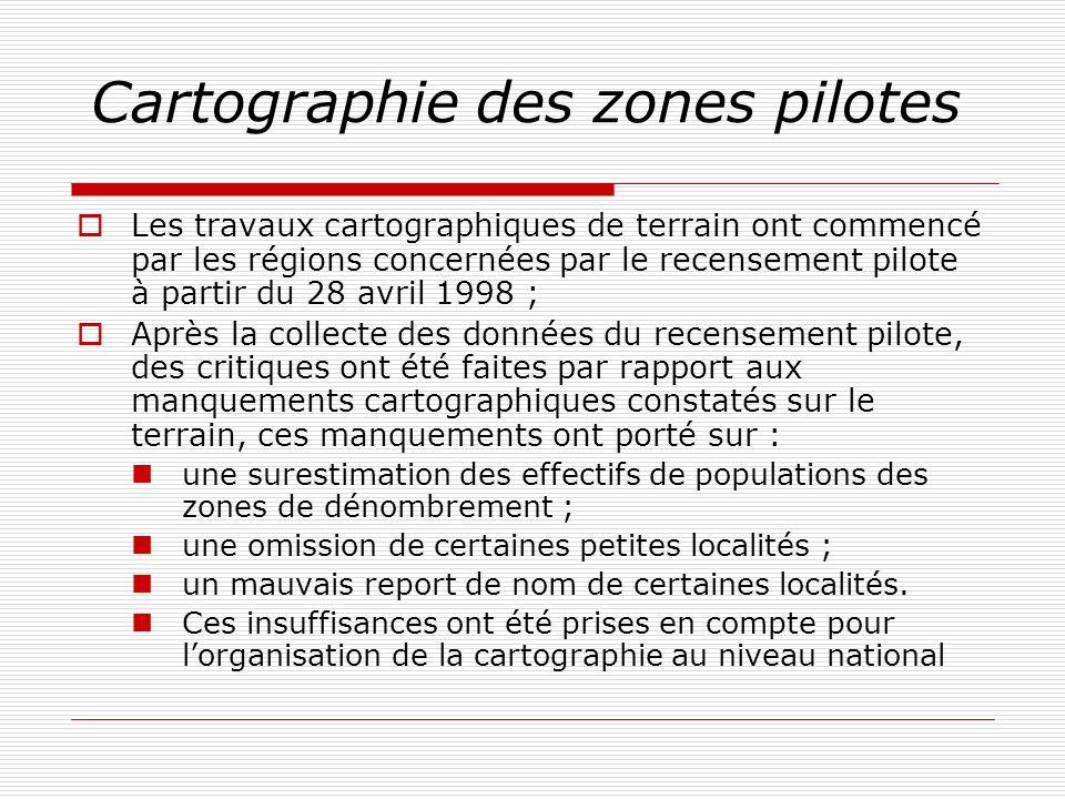 Cartographie des zones pilotes