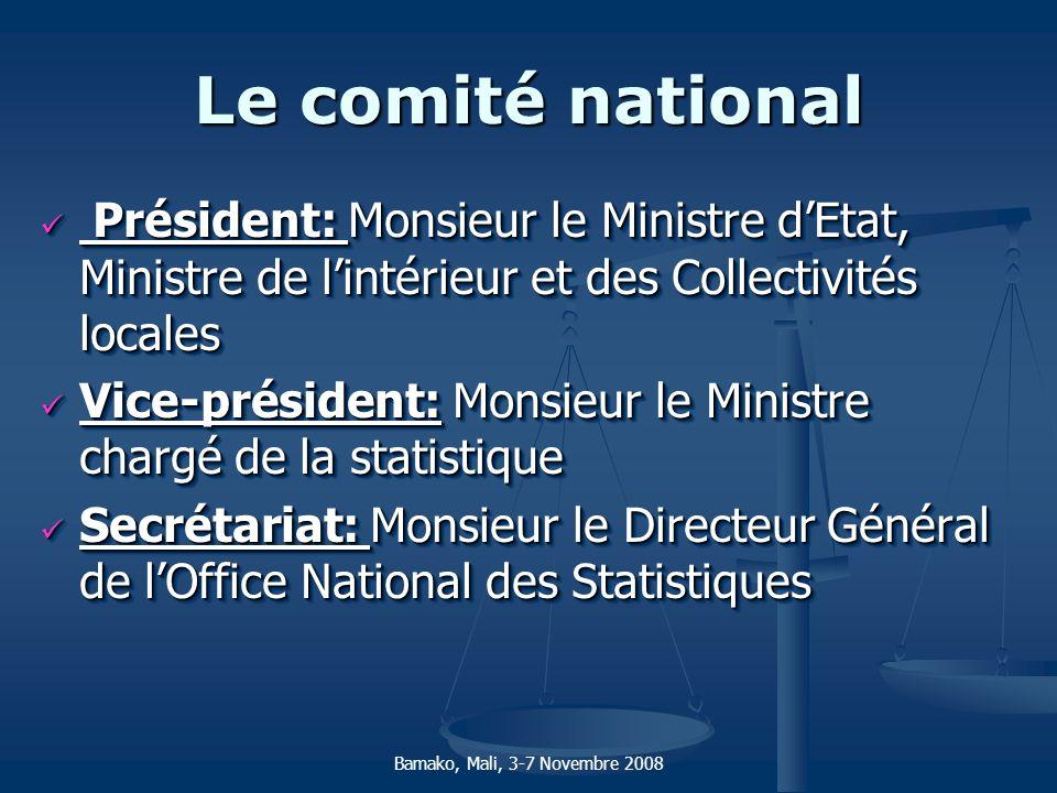 Le comité national Président: Monsieur le Ministre d'Etat, Ministre de l'intérieur et des Collectivités locales.
