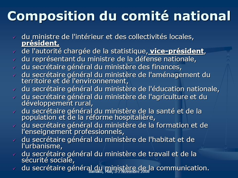 Composition du comité national
