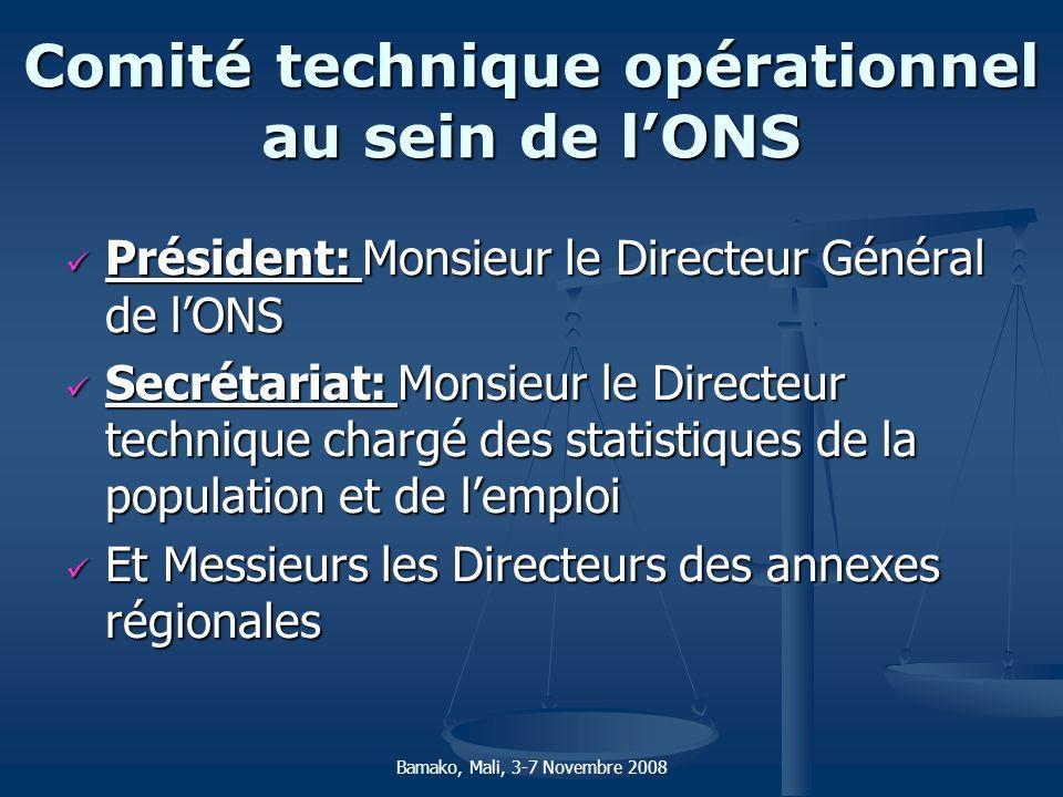Comité technique opérationnel au sein de l'ONS