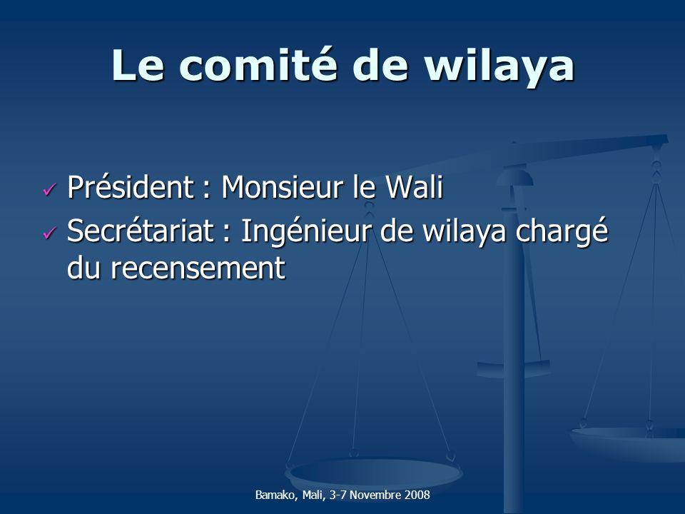 Le comité de wilaya Président : Monsieur le Wali