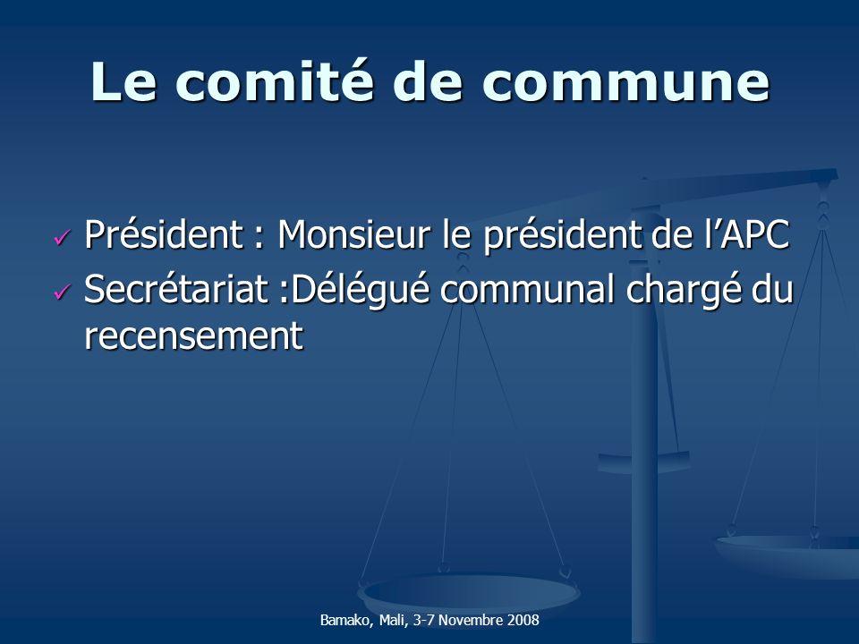 Le comité de commune Président : Monsieur le président de l'APC