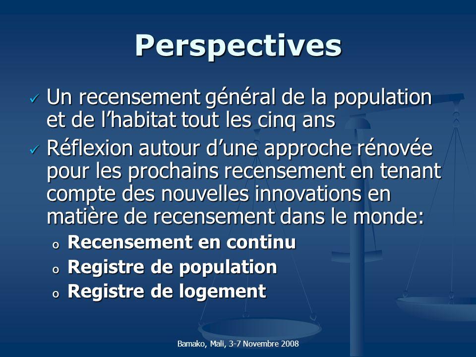 Perspectives Un recensement général de la population et de l'habitat tout les cinq ans.