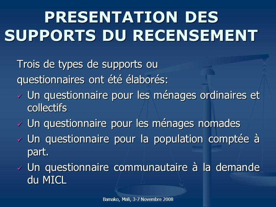 PRESENTATION DES SUPPORTS DU RECENSEMENT