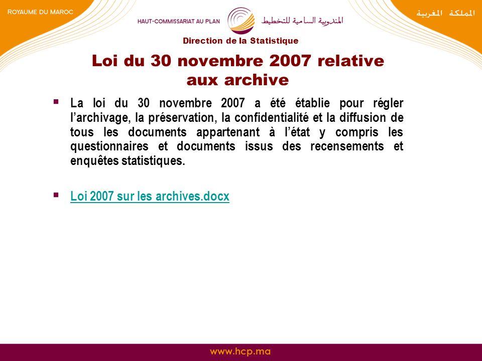 Loi du 30 novembre 2007 relative aux archive