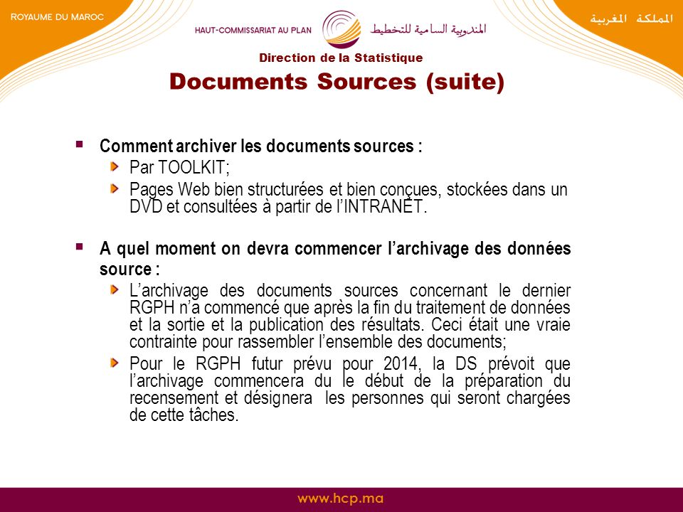 Documents Sources (suite)