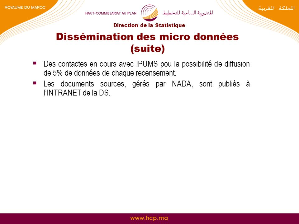 Dissémination des micro données (suite)