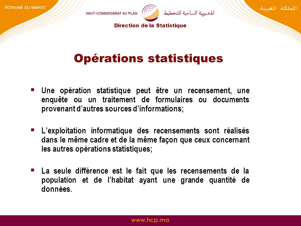 Opérations statistiques