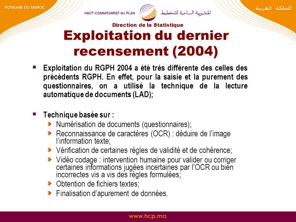 Exploitation du dernier recensement (2004)