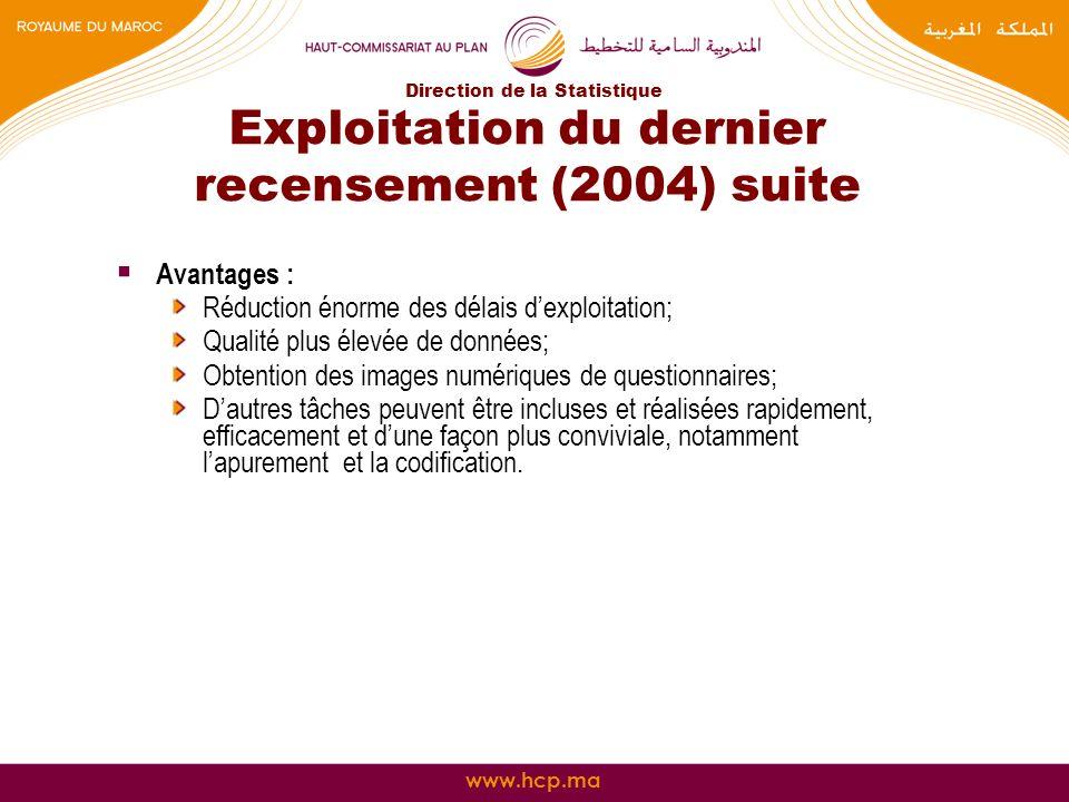 Exploitation du dernier recensement (2004) suite