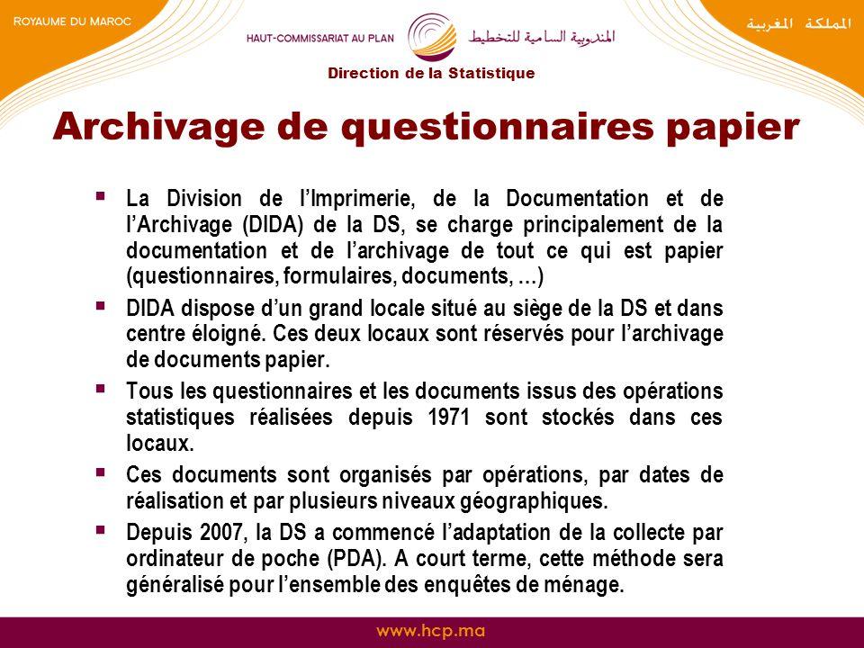 Archivage de questionnaires papier