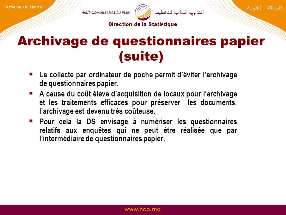 Archivage de questionnaires papier (suite)
