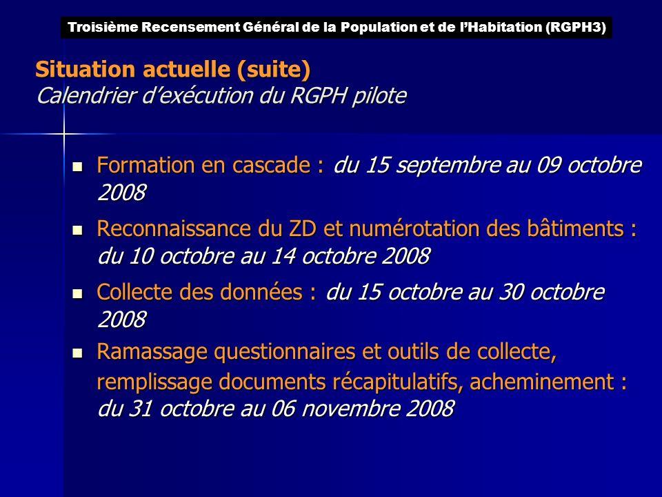 Situation actuelle (suite) Calendrier d'exécution du RGPH pilote
