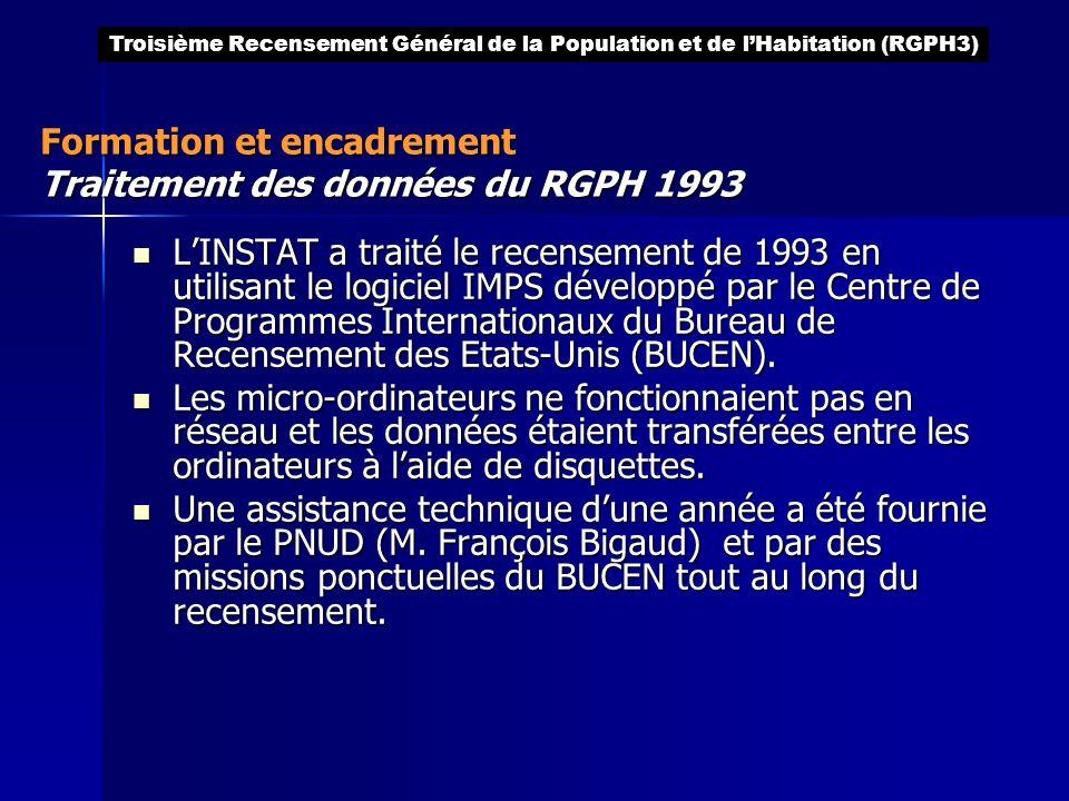 Formation et encadrement Traitement des données du RGPH 1993