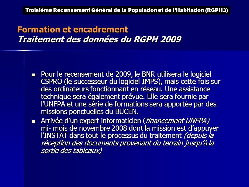 Formation et encadrement Traitement des données du RGPH 2009