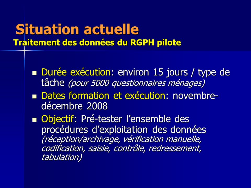 Situation actuelle Traitement des données du RGPH pilote