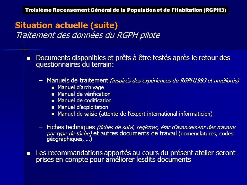 Situation actuelle (suite) Traitement des données du RGPH pilote