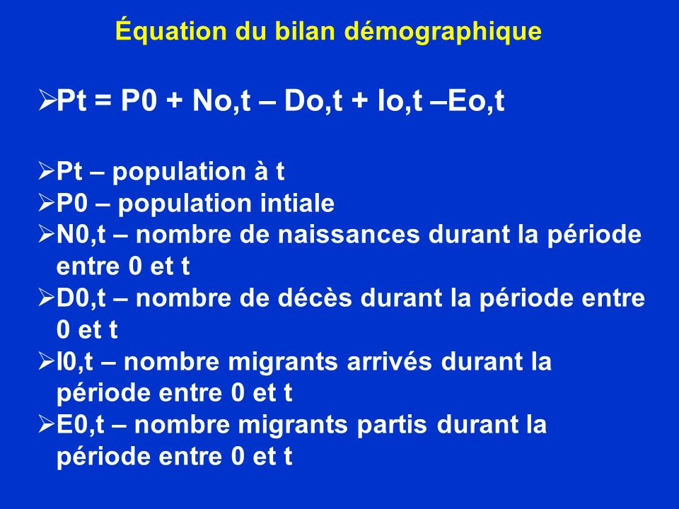 Équation du bilan démographique