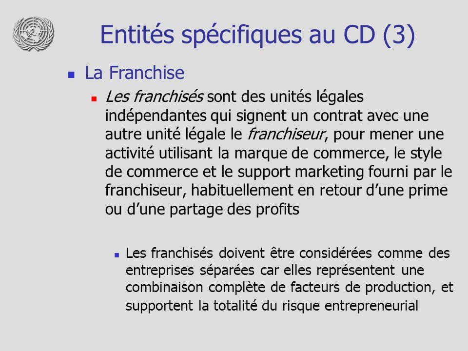 Entités spécifiques au CD (3)