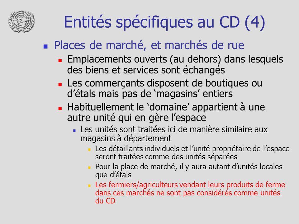 Entités spécifiques au CD (4)