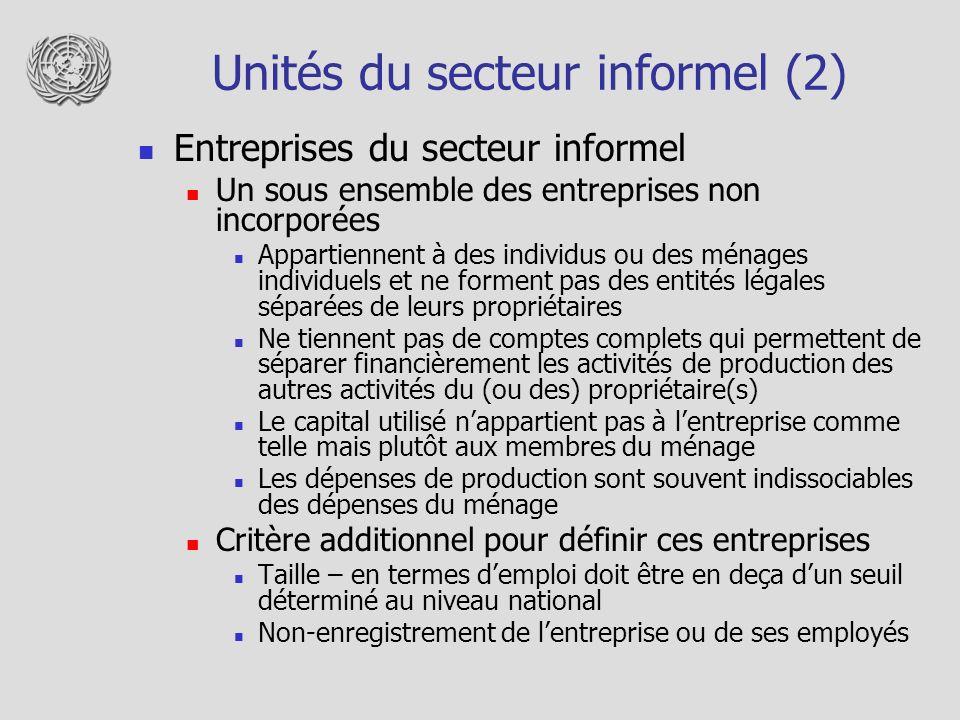 Unités du secteur informel (2)