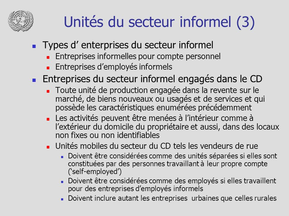Unités du secteur informel (3)