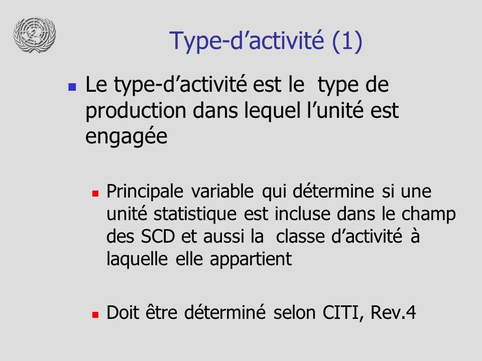 Type-d'activité (1) Le type-d'activité est le type de production dans lequel l'unité est engagée.