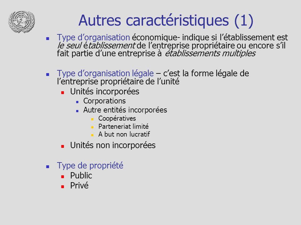 Autres caractéristiques (1)