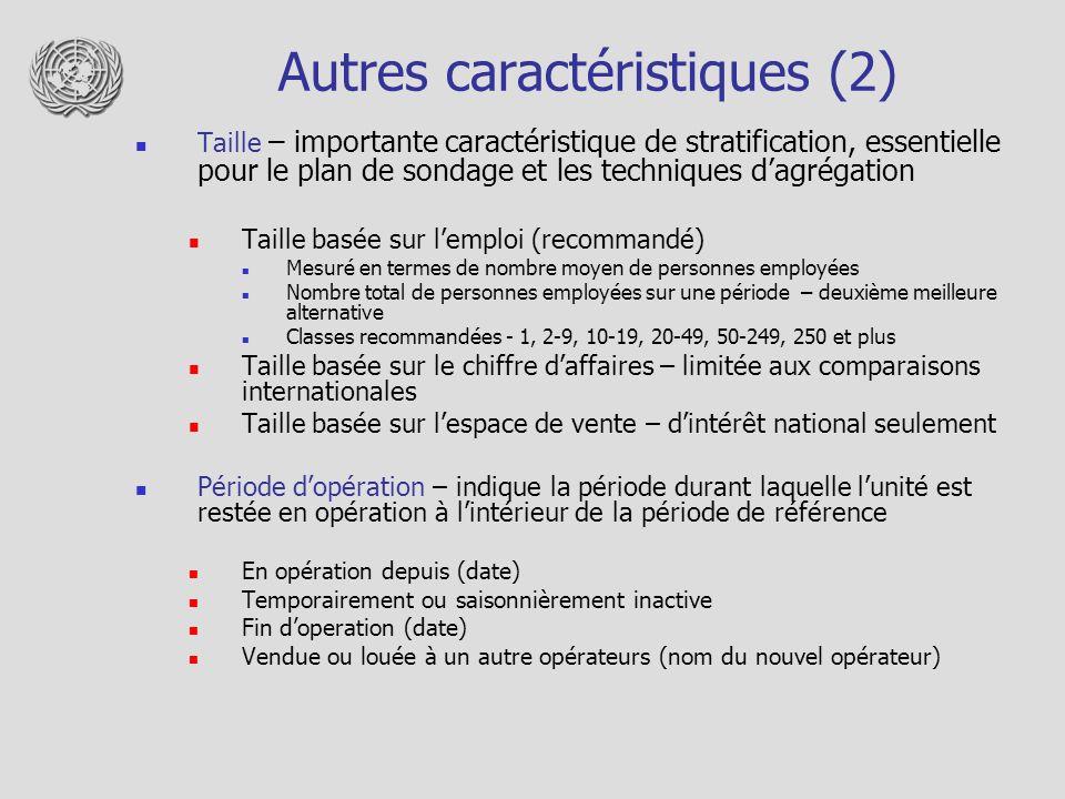 Autres caractéristiques (2)