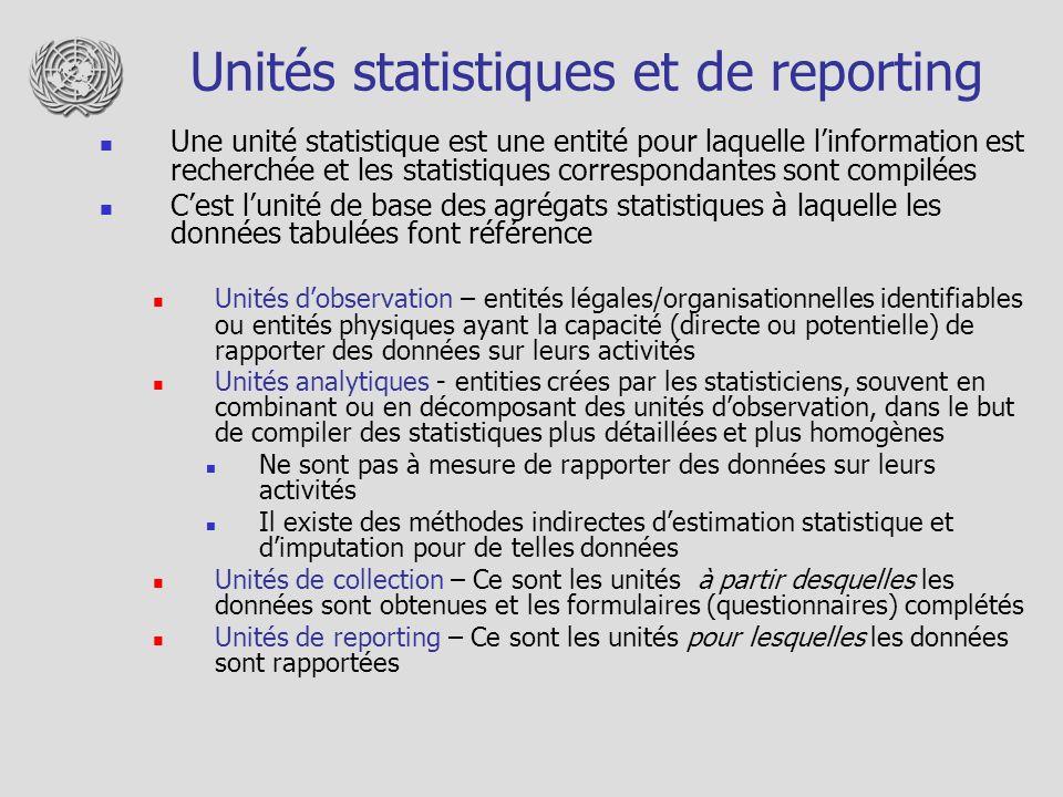 Unités statistiques et de reporting
