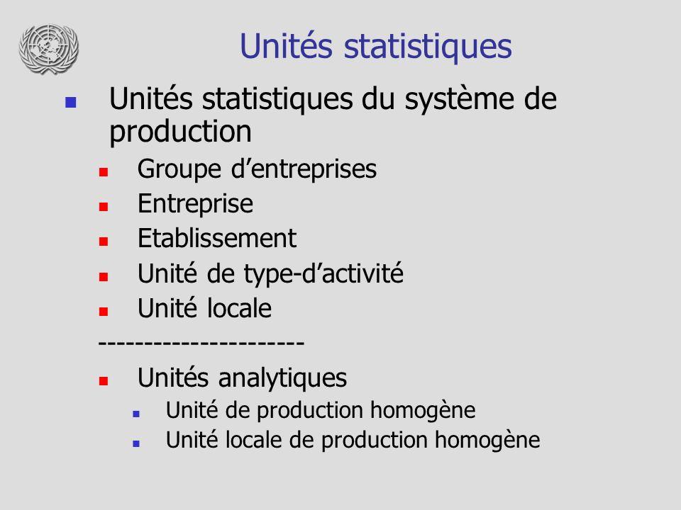 Unités statistiques Unités statistiques du système de production